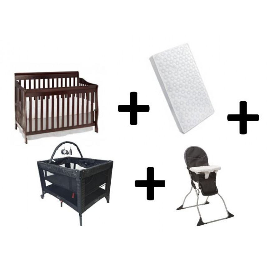 COMBO COSCO - Convertible crib + Mattress + Playyard + High Chair