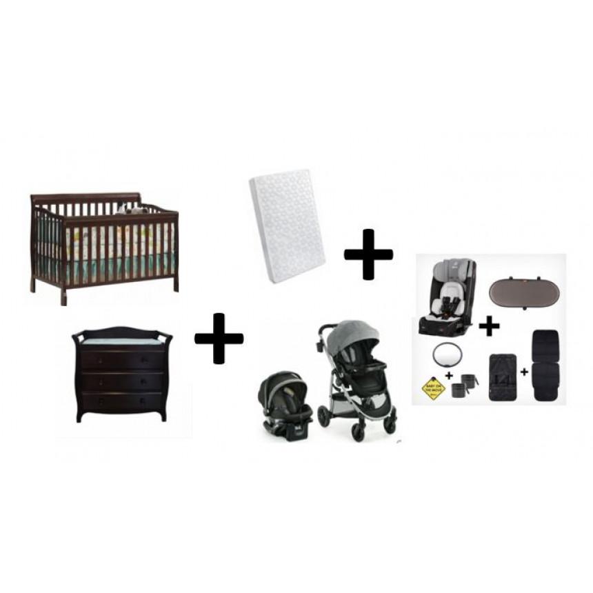 COMBO DIONO - Convertible Crib + Changing Table + Mattress + Stroller + Car seat + Convertible Car Seat