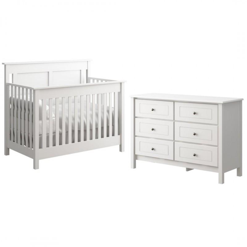 College Woodwork - Offspring - Hampton 3 in 1 Convertible Crib + Double Dresser