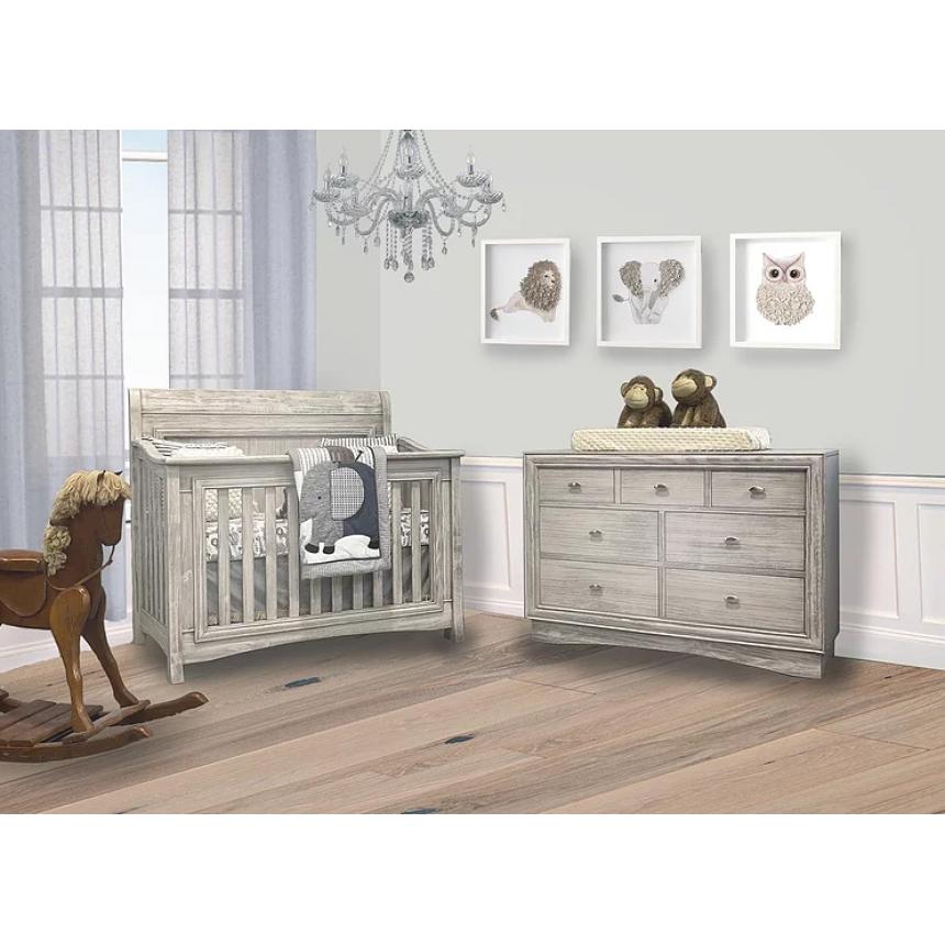 Lil Angels - Preston Crib & Double Dresser - Rustic White
