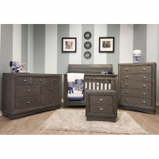 Lil Angels - Preston Collection Crib & Double Dresser - Granite