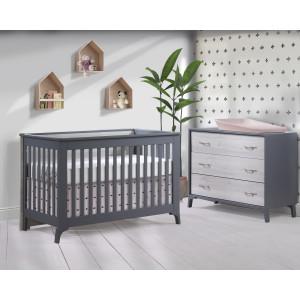 Tulip - Metro Convertible Crib and 3 Drawer Dresser XL