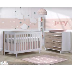 Tulip - Urban Convertible Crib and 3 Drawer Dresser XL