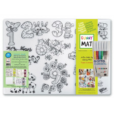 Funny Mat - Set of 4 - Reusable Table Top Coloring Mat - Assorted Choices