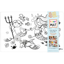 Funny Mat - Reusable Table Top Coloring Mat - (White) Assorted Choices