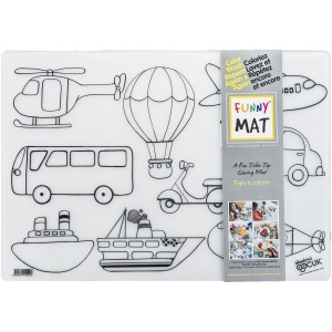 Funny Mat - Resuable Table Top Coloring Mat - Vehicles