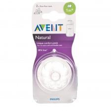Avent - Natural - 2 Tétines Débit Lent 1m+