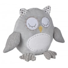Ganz - Hibou gris en peluche avec hochet