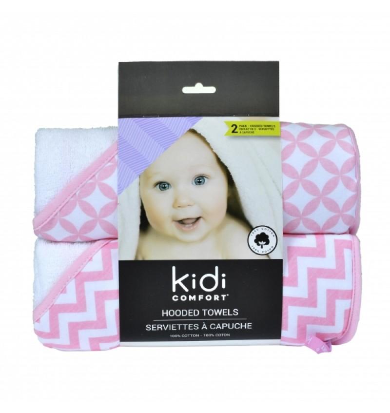 KidiComfort - Serviettes à capuche Rose - Paquet de 2