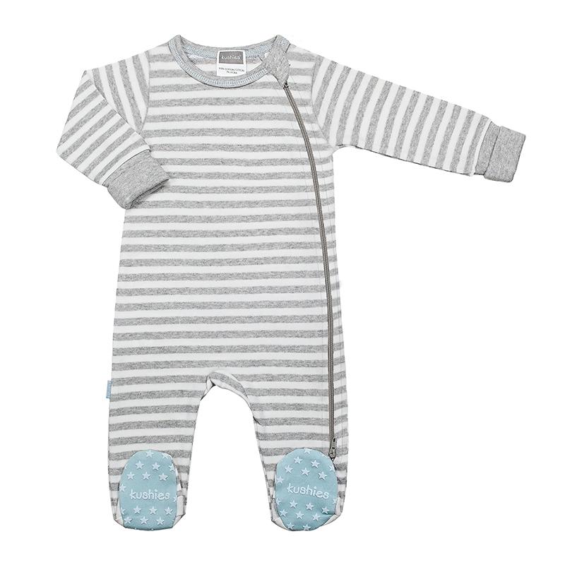 Kushies - Pyjamas à glissière latérale pour garçon - Rayures gris