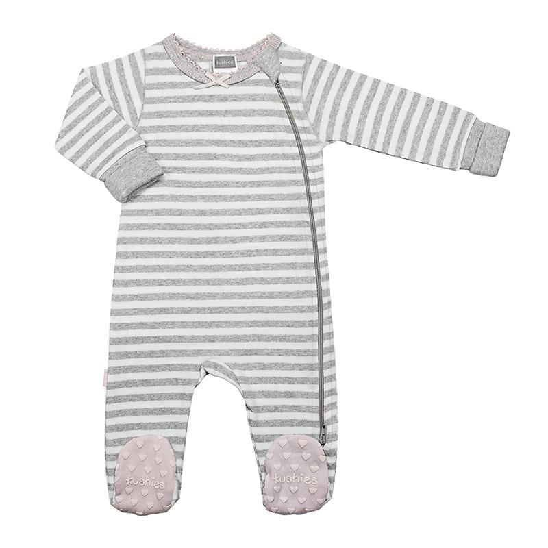 Kushies - Classics Side Zip Sleeper Girl - Grey Stripe
