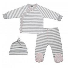 Kushies - Take Me Home Girl Set - Grey Stripe