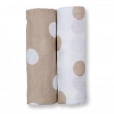 Lulujo - Couverture Mousseline Moderne Me  - Points Crème Polka