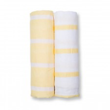 Lulujo - Couverture Mousseline Moderne Me - Rayures Jaunes
