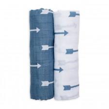Lulujo - Couverture Mousseline Moderne Me  - Fleches Bleues