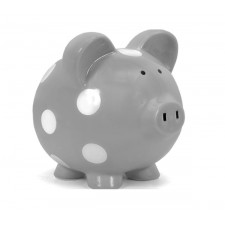 Child to Cherish - Piggy Bank Grey with White Polka Dots
