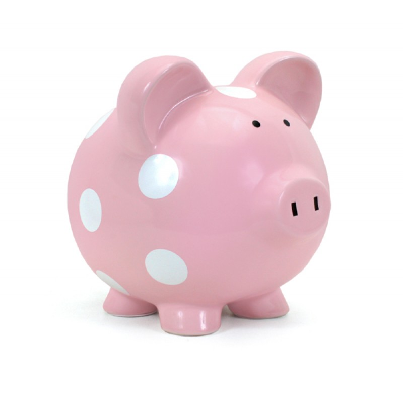 Child to Cherish - Piggy Bank Pink with White Polka Dots