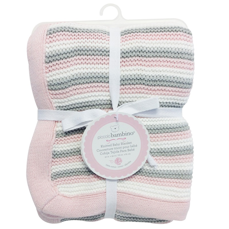 Piccolo Bambino - Knitted Blanket Baby Striped Cotton