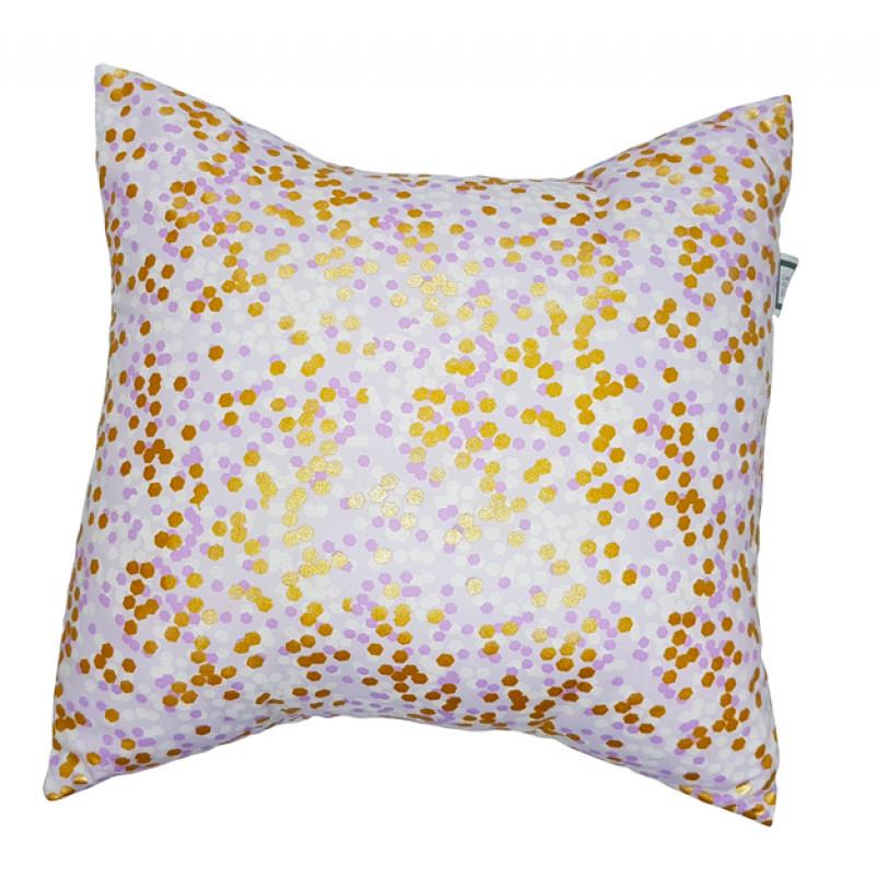 Carrément Bébé - Charlotte - Decorative Cushion - Square Purple & Gold