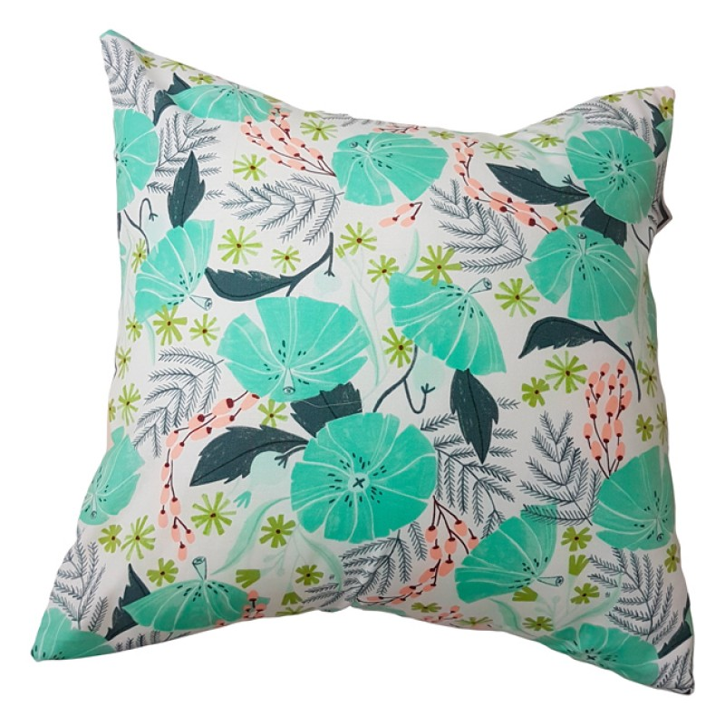 Carrément Bébé - Jade - Decorative Cushion - Square Flowers