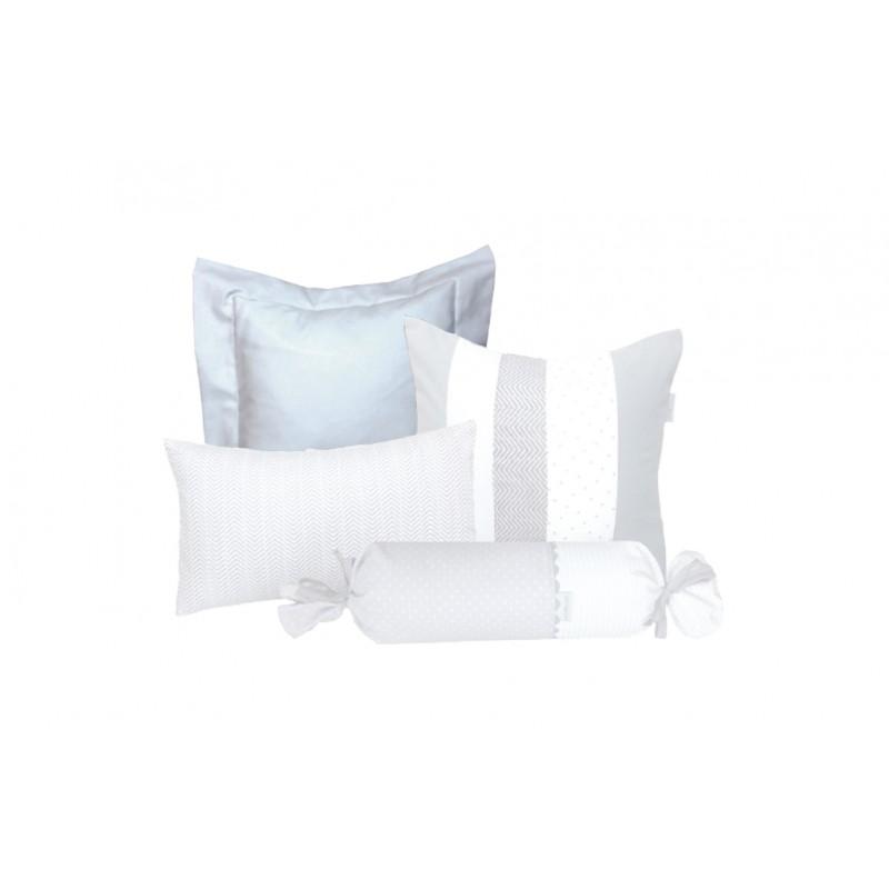 La Libellule - Gris et blanc - Coussin décorative carré - Blanc