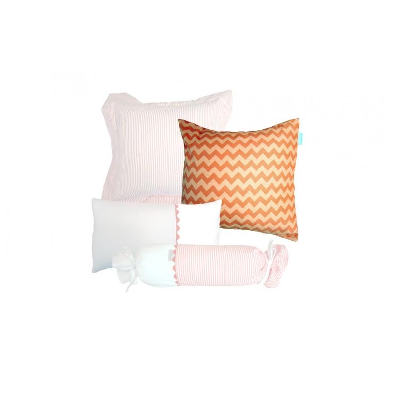 La Libellule - Chats perchés - Coussin décorative carré - Chevron orange
