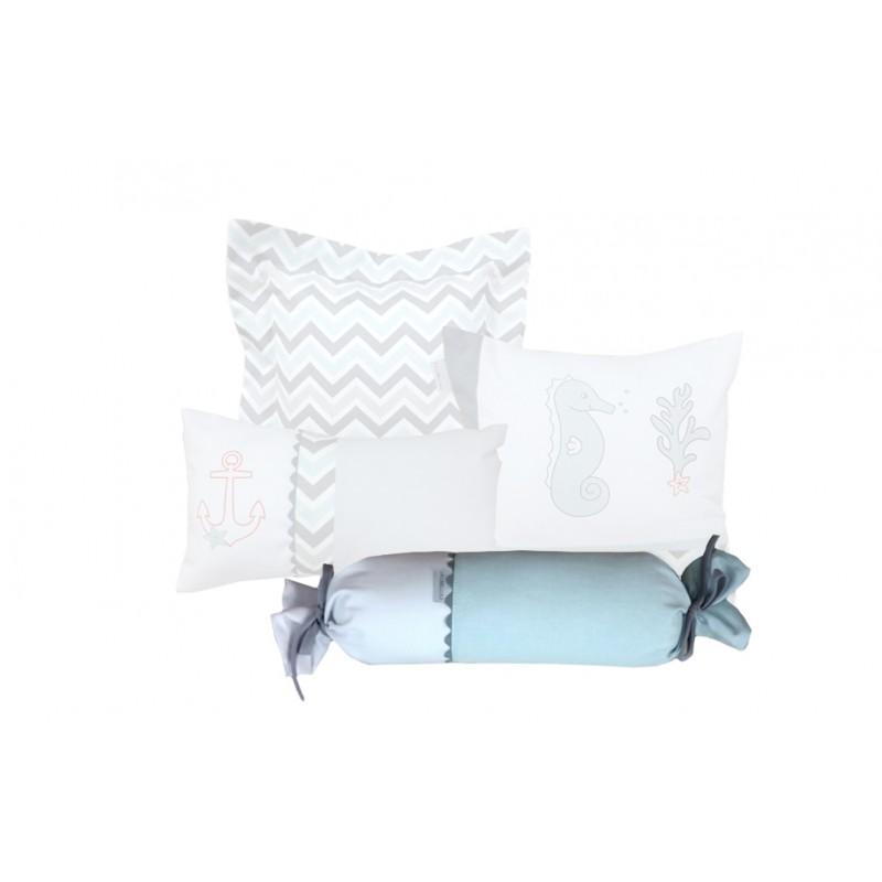 La Libellule - Hippocampe gris & aqua - Coussin décorative bonbon