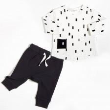 Miles Baby - Ensemble de chandail et pantalon jogging - Blanc et Noir