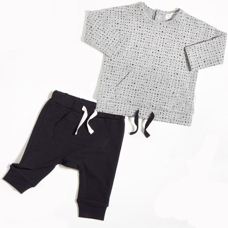 Miles Baby - Ensemble de chandail et pantalon jogging - Gris et noir