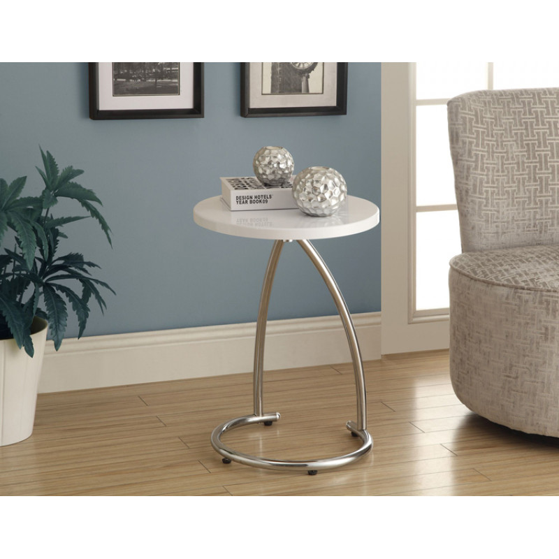 Monarch - Accent Table - Glossy White With Chrome Metal
