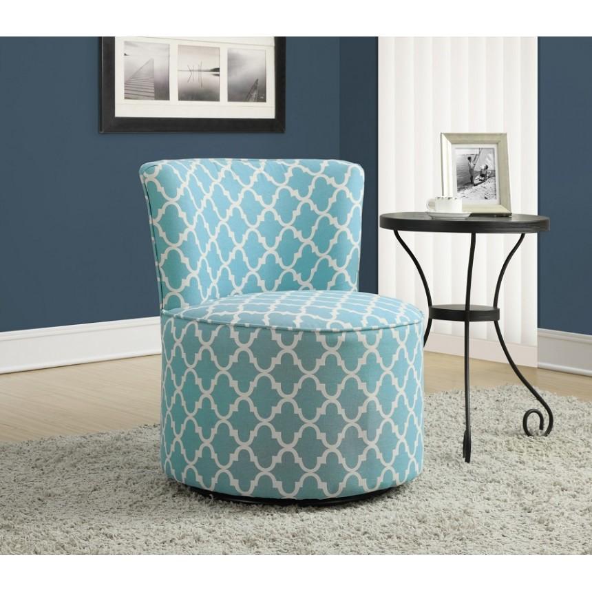Monarch chaise d 39 appoint tissu lanterne bleu base pivotante for Chaise d appoint