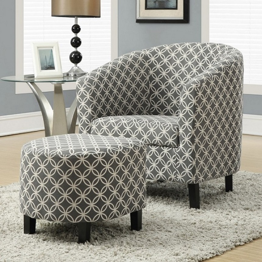 Monarch chaise d 39 appoint en tissus circulaire gris for Chaise d appoint