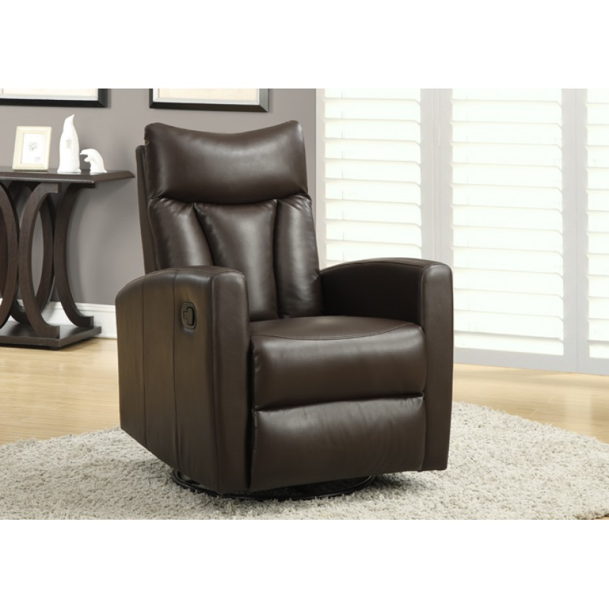 Monarch Fauteuil Inclinable Bercant Cuir Reconstitue Brun
